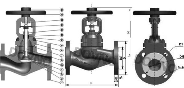 德标波纹管截止阀结构图